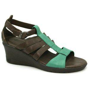 Keen Womens Victoria Brown Teal Wedge Heel Sandals